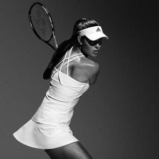 Ana Ivanovic in a crossed back textured stripe dress by Adidas