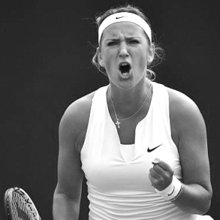 Victoria Azarenka in warrior bandana and v-cut top by Nike Court
