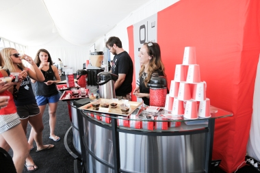 """BONJO Coffee sampling custom shots such as """"Queen of the Court"""", """"The COURTGIRL"""", """"The ACE"""" and """"Tweener"""""""