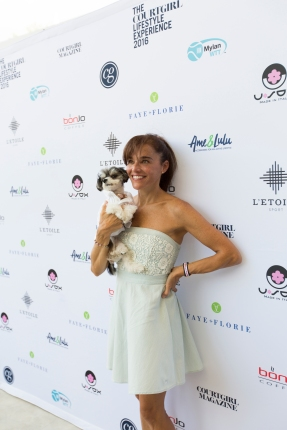 Tinkerbelle the Dog and Mom steel the show at the COURTGIRL Lifestyle Experience at the Mylan World TeamTennis Finals, Forest Hills Stadium